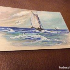 Postales: BARCO PINTADO A MANO. Lote 94913759