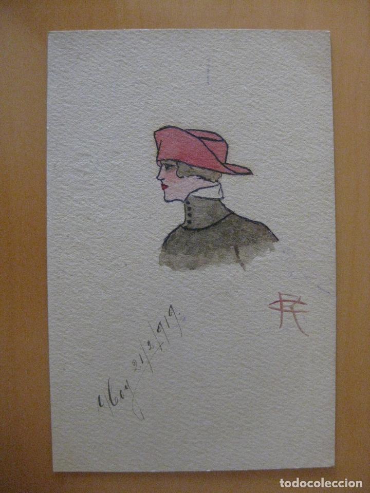 POSTAL PINTADA A MANO MUJER CON SOMBRERO AÑO 1919 (Postales - Postales Temáticas - Dibujos originales y Grabados)