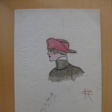 Postales: POSTAL PINTADA A MANO MUJER CON SOMBRERO AÑO 1919. Lote 95340919