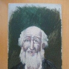 Postales: POSTAL PINTADA A MANO SEÑOR ANCIANO BARBA SIN DIENTES. FIRMADO G. VIZCAY. Lote 95341247