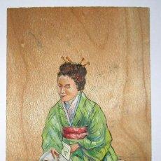 Postales: POSTAL PINTADA A MANO SOBRE MADERA CON MOTIVO JAPONÉS. FECHADA EN 1909.. Lote 99052339