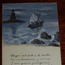 Postales: POSTAL ILUSTRADA CON DIBUJO MARITIMO Y POESIA MANUSCRITA EN 1902, NO CIRCULADA, REVERSO SIN DIVIDIR.. Lote 102638379