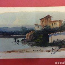 Postales: ANTIGUA POSTAL PINTADA A MANO ORIGINAL. CIRCULADA EN 1916. Lote 104936659