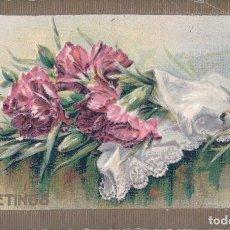 Postales: POSTAL DIBUJO CON RELIVE DE RAMO DE FLORES - GREETINGS - SALUDOS - 201 B. Lote 105830995