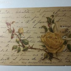 Postales: ANTIGUA POSTAL PINTADA A MANO FLORES ROSAS AMARILLAS - UNION POSTAL UNIVERSAL ESPAÑA - ESCRITA. Lote 107176435