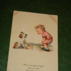 Postales: POSTAL ESTADOS UNIDOS EDWARD GROSS SERIE COMIC NUM. 95 CIRCULADA 1918 NIÑO PERRO. Lote 109383971