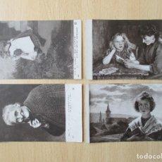 Postales: LOTE DE 4 TARJETAS POSTALES ARTÍSTICAS ANTIGUAS – SALONS. Lote 109625359