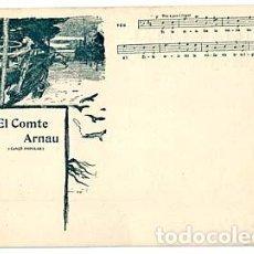 Postales: POSTAL CATALANA EL COMTE ARNAU ( CANÇO POPULAR ) PARTITURA. ILUSTRADA POR S. RUSIÑOL. LB BARCELONA. Lote 110349715