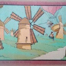 Postales: POSTAL DON QUIJOTE EN EL SIGLO XX Nº 5 AVENTURA DE LOS MOLINOS DE VIENTO PUBLICIDAD PERFUMERIA GAL. Lote 111637943