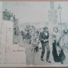 Postales: POSTAL SERIE BLANCO Y NEGRO Nº 425 ¡AL SANTO! HAUSER Y MENET SIN DIVIDIR PERFECTA CIRCUL 1902 MADRID. Lote 111667823