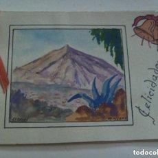Postales: POSTAL FELICITACION NAVIDAD CON UN DIBUJO DEL TEIDE HECHO A MANO Y FIRMADO POR LIZANA, AÑOS 50.. Lote 112889907