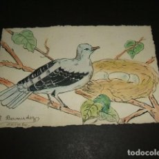 Postales: POSTAL PINTADA A MANO PLUMILLA COLOREADA PALOMA EN NIDO FIRMA R. BERMUDEZ HACIA 1920. Lote 116266151