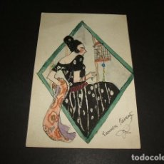 Postales: POSTAL PINTADA A MANO PLUMILLA COLOREADA MUJER CON PAJARO FIRMA ART DECO. Lote 116266363