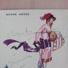 Postales: POSTAL ILUSTRADORES XAVIER SAGER SERIE Nº 85 FANTAISIES PARISIENNES BONNE ANNEÉ MUJER SOMBREROS PER. Lote 118529699