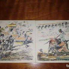 Postales: LOTE DE 2 POSTALES.-TAUROMAQUIA, ILUSTRADAS POR ANTONIO CASERO. Lote 121991127