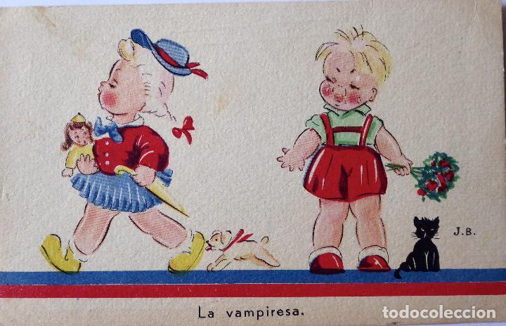 P-8205. LA VAMPIRESA. POSTAL ILUSTRADA J. B. AÑO 1944. CIRCULADA. (Postales - Postales Temáticas - Dibujos originales y Grabados)