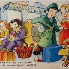 Postales: P-8206. EL TREN. POSTAL ILUSTRADA . EDICIONES TRIO. AÑO 1943. CIRCULADA.. Lote 122491327