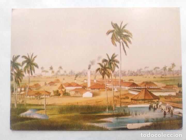 TARJETA POSTAL DE CUBA. INGENIO AZUCARERO. GRABADO SIGLOXIX (Postales - Postales Temáticas - Dibujos originales y Grabados)