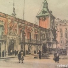Postales: ANTIGUA POSTAL DIBUJO COLOREADO PLAZA DE LA VILLA ANTIGUO AYUNTAMIENTO DE MADRID. Lote 124492239