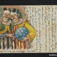 Postales: PAYASOS.CIRCO.POSTÁL ILUSTRADA POR ROICK.CIRCULADA DESDE GIBRALTAR EN 1902.. Lote 124554779
