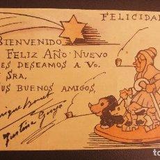 Postales: POSTAL PINTADA A MANO, FELIZ AÑO NUEVO, ABUELO Y PERROS . Lote 124646331