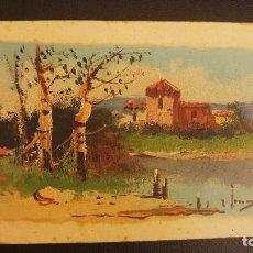 Postales: POSTAL PINTADA A MANO PAISAJE, FIRMADA, NO ENTIENDO LA FIRMA. ESCRITA EN 1923. Lote 124647551