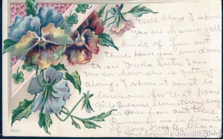 POSTAL ALEMANA DE FLORES CON RELIEVES - SER 507 - CIRCULADA (Postales - Postales Temáticas - Dibujos originales y Grabados)