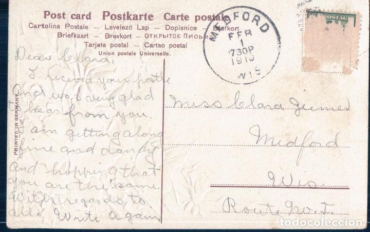 Postales: POSTAL ALEMANA DE FLORES CON RELIEVES - SER 507 - CIRCULADA - Foto 2 - 126563895