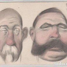 Postales: POSTAL PINTADA A MANO RETRATO O CARICATURA DE HOMBRES TAPOE ??? MADRID. REVERSO SIN DIVIDIR.. Lote 128161763