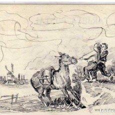 Postales: POSTAL PINTADA A MANO, NIÑOS TIRANDO DE UN BURRO. MANUEL GROZARD 1914. Lote 128162067