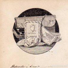 Postales: DIBUJO ORIGINAL A TINTA - DEL LIBRO DE LUIS COLOMA UN MILALGRO. FINAL CAPITULO II. Lote 128162299
