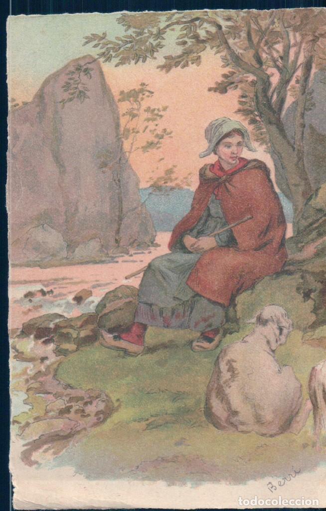 POSTAL DIBUJO FIRMADA BERRI - PASTORA (Postales - Postales Temáticas - Dibujos originales y Grabados)