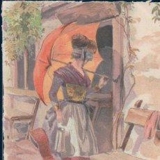Postales: POSTAL DIBUJO FIRMADA AMERGNE - MUJER PARAGUAS . Lote 131619598