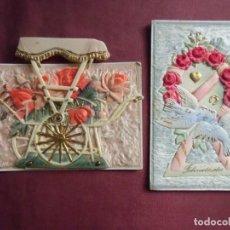 Postales: PRECIOSAS POSTALES ROMANTICAS HACIA 1910.TROQUELADA,CELULOIDE, RELIEVES,ETC.... Lote 133661094