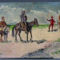 Postales: POSTAL ESCENA QUIJOTE Y SANCHO Y YBAÑEZ PINTADA ÓLEO 1905 SIN DIVIDIR SIN CIRCULAR. Lote 137633846