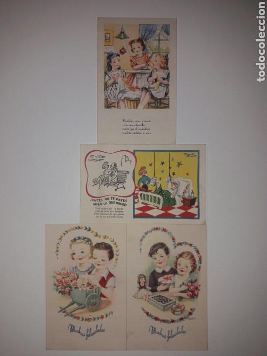 4 TARJETAS POSTALES FENIX AÑOS 50. (Postales - Postales Temáticas - Dibujos originales y Grabados)