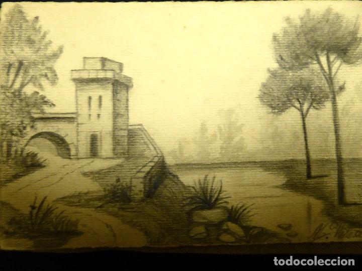P-8958. PAISAJE PINTADO A MANO. CARBONCILLO. FIRMADA. .AÑO 1914 (Postales - Postales Temáticas - Dibujos originales y Grabados)