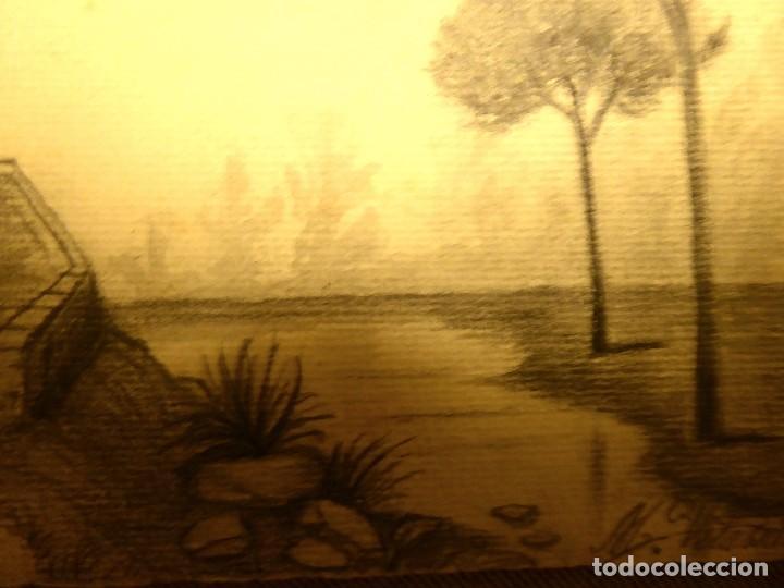 Postales: P-8958. PAISAJE PINTADO A MANO. CARBONCILLO. FIRMADA. .AÑO 1914 - Foto 2 - 144888154