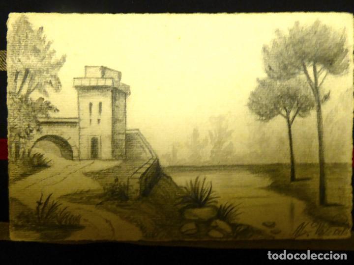 Postales: P-8958. PAISAJE PINTADO A MANO. CARBONCILLO. FIRMADA. .AÑO 1914 - Foto 3 - 144888154