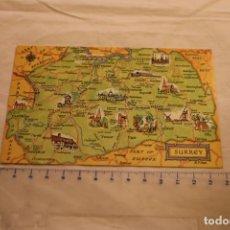 Postales: POSTAL DEL MAPA DEL CONDADO DE SURREY INGLATERRA EDITA J.SALMON (CIRCULADA EN 1983)1-60-00-02. Lote 146434806