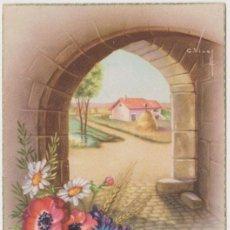 Postales: ILUSTRADOR: C.VIVES , FLORES, PAISAJE - EDITA CYZ 508/A - ESCRITA 1954. Lote 150156370