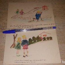 Postales: 2 POSTALES DIBUJADAS A MANO, HUMORISTICAS, 14 X 9,5 CM. SIN CIRCULAR. Lote 151563206