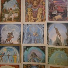 Postales: JOHFRA BOSSCHART THE SIGNS OF THE ZODIAC 12 POSTCARDS SIGNOS DEL ZODIACO 12 POSTALES. Lote 153275102
