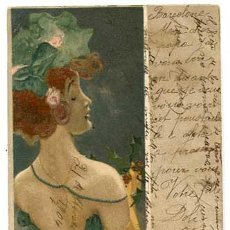 Postales: POSTAL ILUSTRADA POR RAPHAEL KIRCHNER ( MUJER ) REVERSO SIN DIVIDIR. CIRCULADA. Lote 159561526