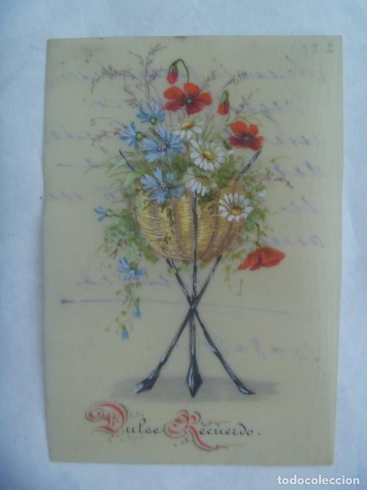PEQUEÑA POSTAL PINTADA A MANO , SIGLO XIX .. 1889 (Postales - Postales Temáticas - Dibujos originales y Grabados)