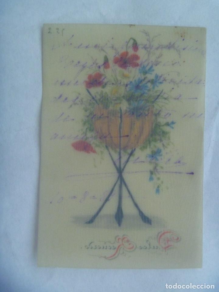 Postales: PEQUEÑA POSTAL PINTADA A MANO , SIGLO XIX .. 1889 - Foto 2 - 161966326