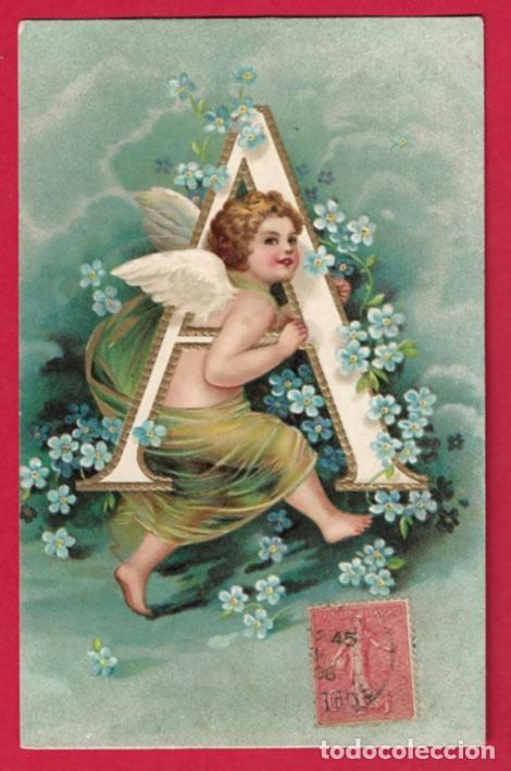AE830 ANGEL ANGELITO ALFABETO ABECEDARIO LETRA A CON FLORES SELLO 1906POSTAL EN RELIEVE (Postales - Postales Temáticas - Dibujos originales y Grabados)