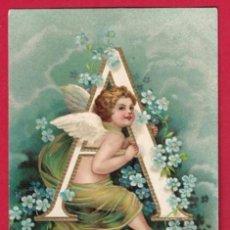 Postales: AE830 ANGEL ANGELITO ALFABETO ABECEDARIO LETRA A CON FLORES SELLO 1906POSTAL EN RELIEVE. Lote 161976814