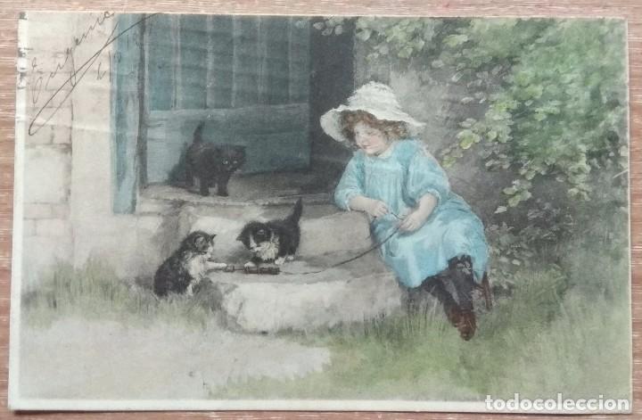 POSTAL DE 1915 DIRIGIDA A LA CONOCIDA EMMA BOUHON NEVES (Postales - Postales Temáticas - Dibujos originales y Grabados)