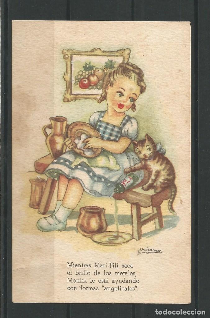Postales: Antiguas dos postales dibujadas coloreadas. Una de ellas aventuras de Mari- Pili. - Foto 2 - 162963894
